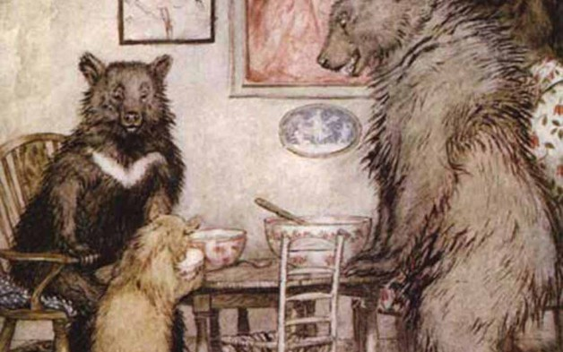 Three bears at a table