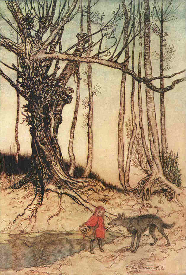Little Red Riding Hood in the forest as illustrated by Arthur Rackham