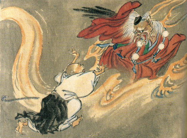 Painting of Tengu battling a Buddhist monk by artist Kawanabe Kyōsai.