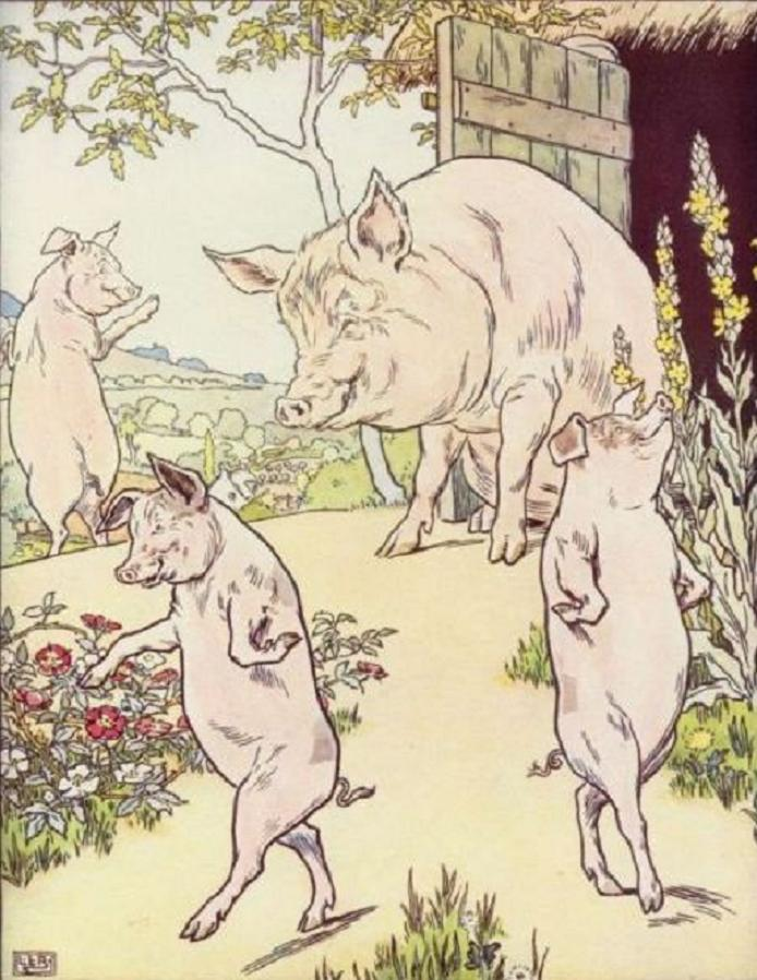 Three little pigs and their mother in front of their home in this illustration by L. Leslie Brooke