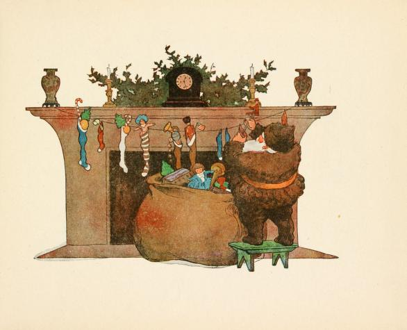"""Santa Claus stuffs the stockings."" Illustration by Jessie Wilcox Smith. Published in Twas the Night Before Christmas, Clement Moore (1912), Houghton Mifflin Company."