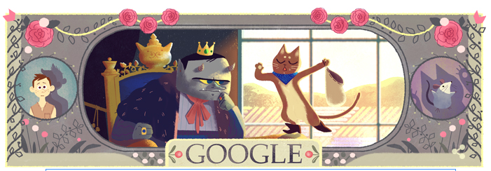 Google Doodle celebrating Charles Perrault, author of Puss in Boots