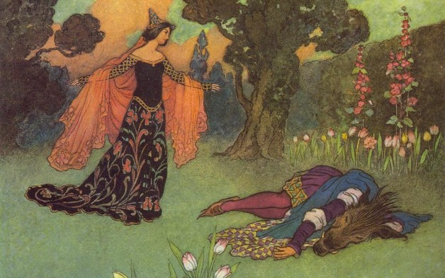 Beauty and the Beast, as illustrated by Warwick Goble.