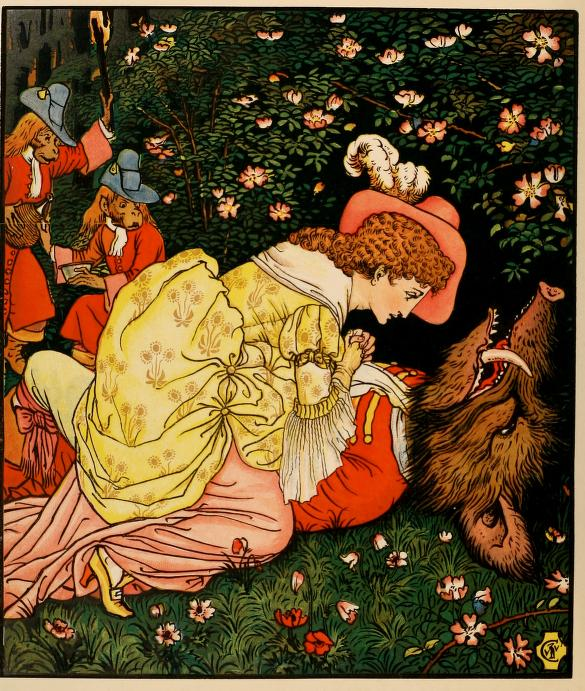 """At this sight, Beauty wept and reproached herself for having caused his death."" 1875 Illustrated by Walter Crane. Published George Routledge and Sons."