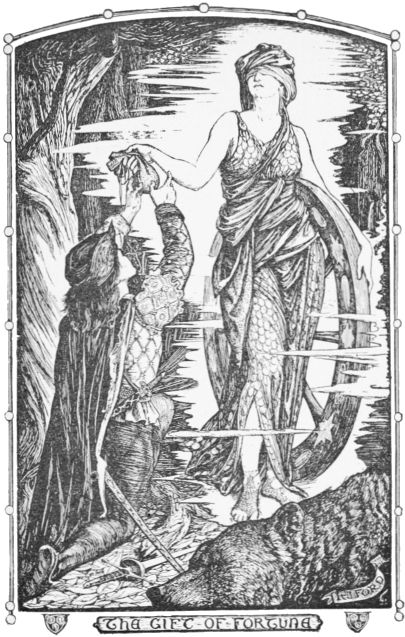 Fortunates receives the magic purse from the woman in the wood in this black and white illustration by H.J. Ford for Andrew Lang's book of fairy tales, Grey Fairy Book