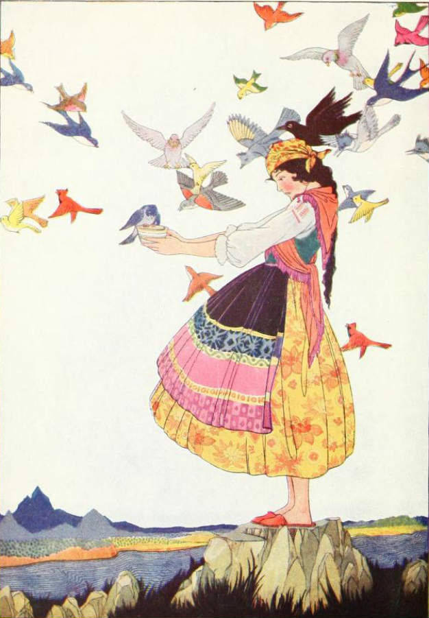 """The little maid had not known that there were so many kinds of birds in the whole world."" Illustration by Maude and Miska Petersham. Published in Tales of Enchantment  from Spain by Elsie Spicer Eells (1920), Harcourt, Brace and Company."