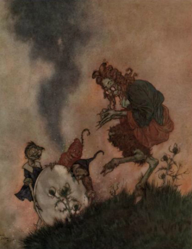An illustration of the troll and his mirror by Edward Dulac for the tale The Snow Queen