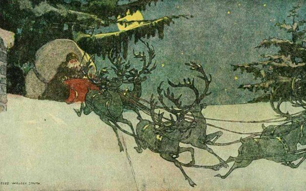 Santa riding a sledge