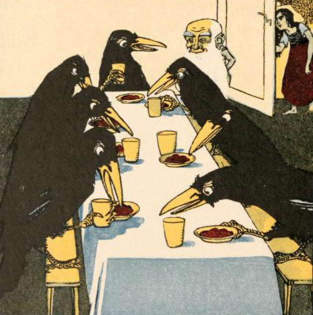 "Illustration for fairy tale The Seven Raves by Jakob and Wilhelm Grimm. ""The dwarf carried in the ravens' dinner on seven little plates, and in seven little cups."" Illustration by Albert Weisgerber, published in Kinder-und, publication date unknown. Originally published in German."