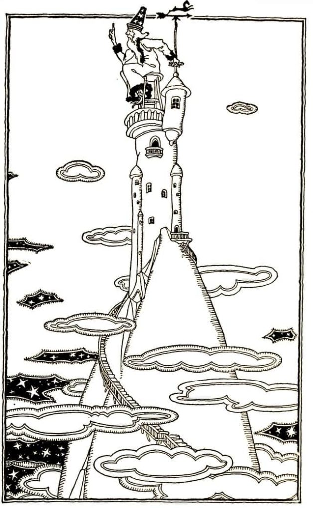 """And there on a high stool in a high tower on a high hill sits the Head Spotter of the Weather Makers."" Illustration by Maude and Miska Petersham, published in Rootagaba Stories by Carl Sandburg (1922), Harcourt, Brace and Company."