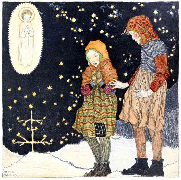 Bulgarian image of the Christ child appearing before two children in winter. Illustration by a teenage artist, Bretl Hanuz. Published in Christmas: Pictures by Children (1922), J.M. Dent