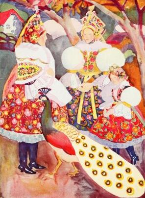 """Zloboha put on Dobrunka'S clothes."" Illustration by Jan Matulka. Published in Czechoslovak Fairy Tales by Parker Fillmore (1919), Harcourt, Brace and Company."