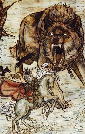 """Odin battles Fenrir."" Illustration by Arthur Packham. Publication source unknown."