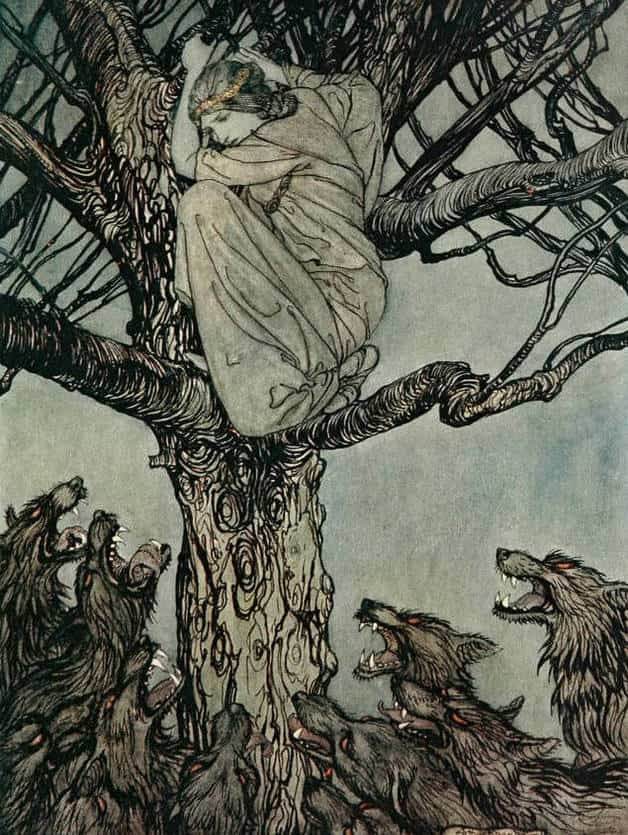 """The snarling horde."" Illustration by Arthur Packham, published in Irish Fairy Tales by James Stephens (1920), Macmillan"
