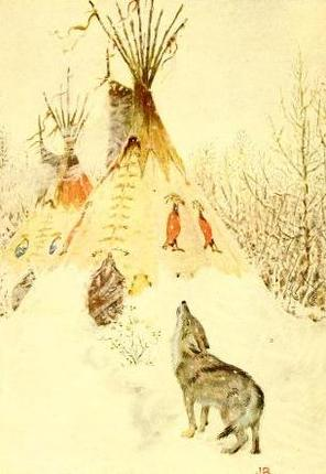 """Coyote the prairie wolf."" Illustration by John Rae, published in American Indian Fairy Tales by W.T. Larned (1921), P.F. Volland Company."