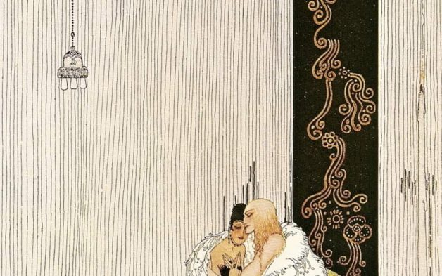 """The lad in the bear skin and the King of Arabia's daughter."" Illustration by Kay Nielsen, published in East of the Sun and West of the Moon: Old Tales from the Norse Illustrated by Peter Christen Asbjørnsen and Jørgen Moe (1914), George Duran Company."
