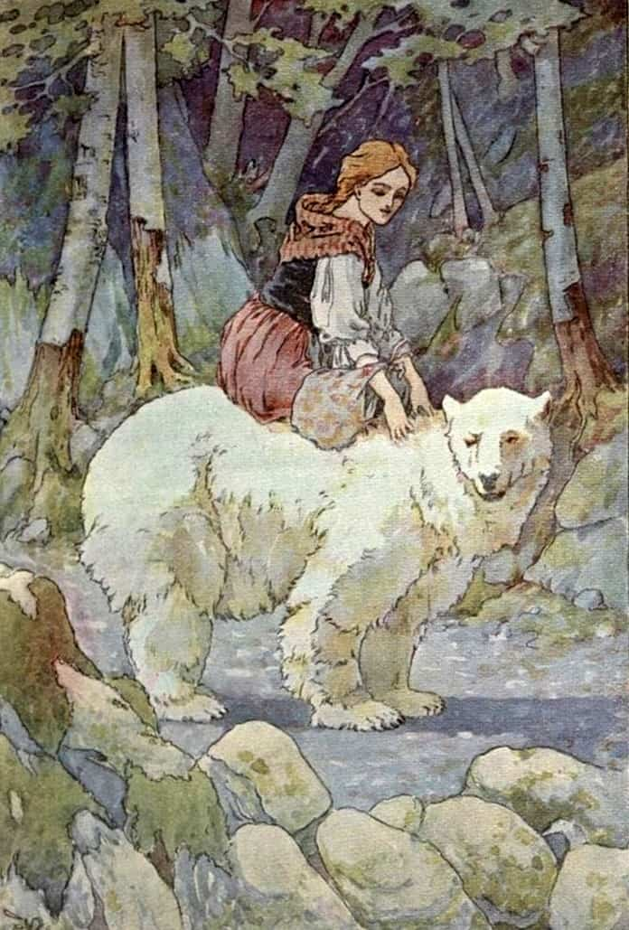 """Are you afraid?"" Illustration by Frederick Richardson, published in East o' the Sun and West o' the Moon, with Other Norwegian Folk Tales by Peter Christen Ambjørnsen, Jørgen Engebretsen Moe and Gudrun Thorne-Thomsen (1912), Row, Peterson and Company."