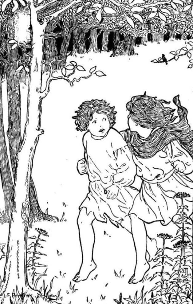 """The children ran away as fast as their feet could possibly carry them."" Illustrator unknown. Published in Folk Tales from the Russian (1903), Core Collection Books."