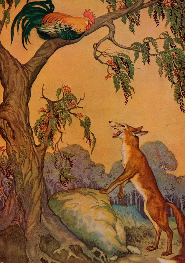 """The cock and the fox."" Illustration by Milo Winter. Published in The Aesop for Children with Pictures by Milo Winter (1919), Rand McNally."