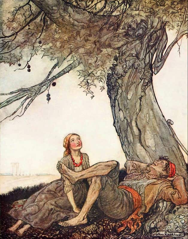 """The travelers and the plane tree."" Illustration by Arthur Rackham. Published in Aesop's Fables by V.S. Chesterton (1912), Doubleday Page & Co."