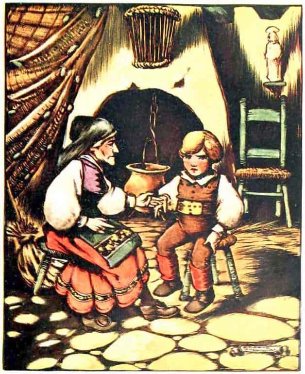"""""""At night the grandmother always gave him good counsels for him to follow for when she was gone."""" Illustration by Edward McCandlish, published in Laboulaye's Fairy Book (1920), Harper."""