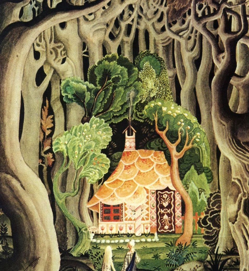 Hansel and Gretel marvel at the cottage made of sweets