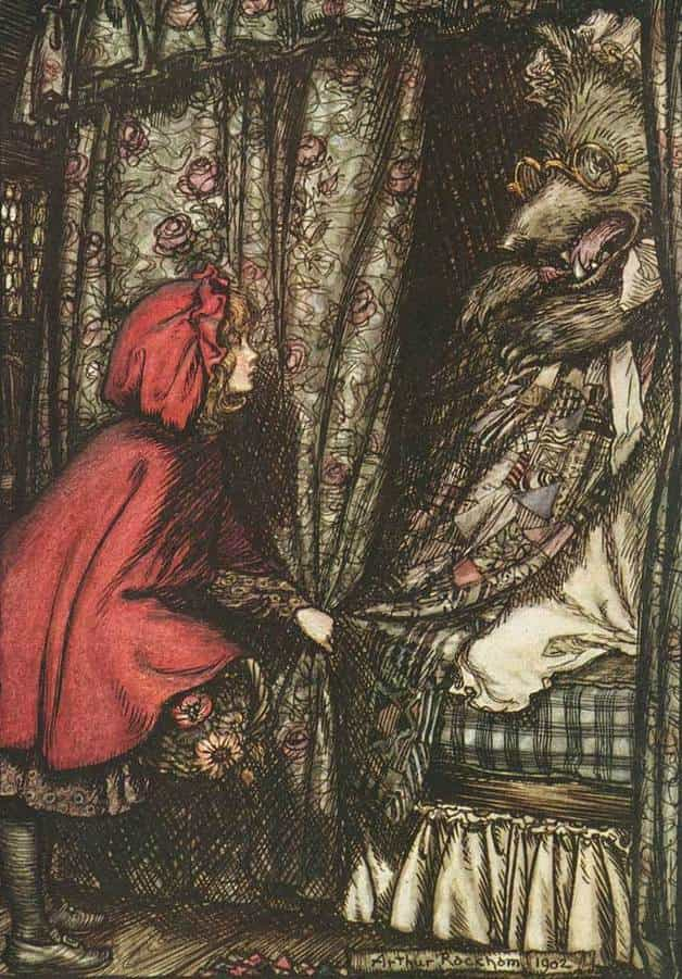 """Oh grandmother, what big ears you have got, she said."" Illustration by Arthur Rackham. Published in Grimm's Fairy Tales by Wilhem and Jacob (1909), Constable & Company. This story is important to know when you wonder how to write a fairy tale"
