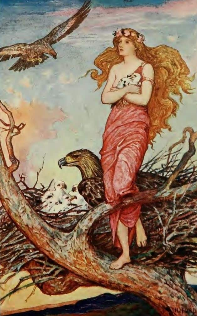 """She lived happily in her nest, standing at the edge in the sunset looking upon the beautiful world."" Illustration by H.J. Ford, published in The Crimson Fairy Book (1908), Longmans, Green and Co."