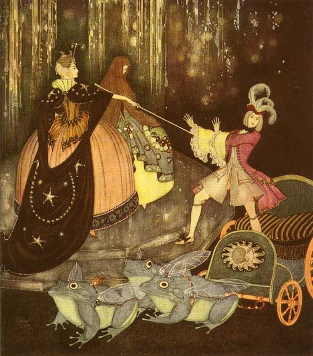 """The prince took a carriage drawn by three great frogs with great big wings."" Illustration by Edmund Dulac, published in Edmund Delay's Fairy Book: Fairy Tales of the Allied Nations by Edmund Dulac (1916), G.H. Doran."