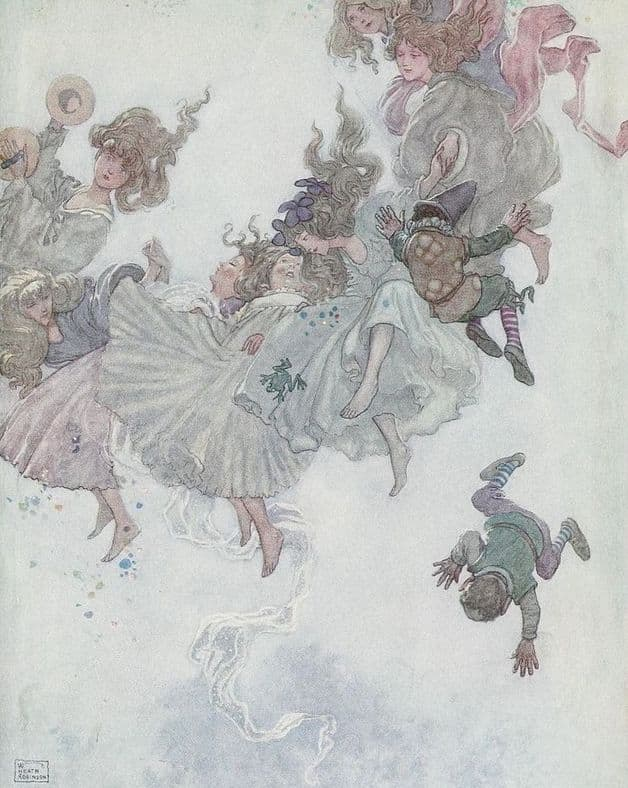"""Round and round they went, such whirling and twirling."" Illustration by W. Heath Robinson, published in Hans Andersen's Fairy Tales by Hans Christian Andersen (1913), Constable."