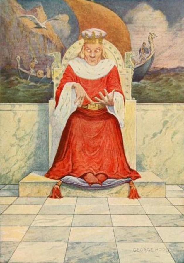"""The king reckoned, counted and added."" Illustration by George Hood, published in The Norwegian Fairy Book by Clara Strobe, (1922), Frederick A. Stokes Company."
