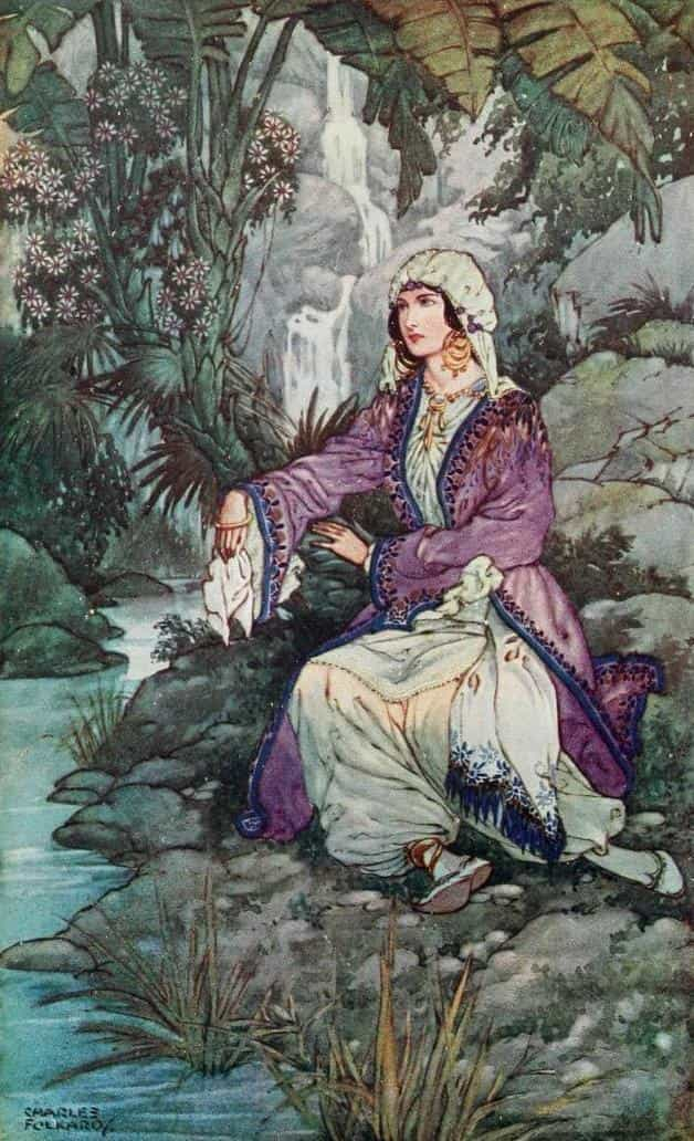 """On the bank by sat a young maiden weeping."" Illustration by Charles Folkard, published in Ottoman Wonder Tales (1915), by Lucy Mary Jane Garnett, A and C Black, Limited."