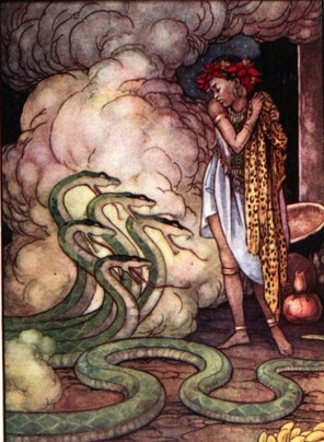 """A great snake with five heads was closed beside her."" Illustration by Helen Jacobs, published in Native Fairy Tales of South Africa by Ethel L. McPherson (1919), George G. Harrap & Company."