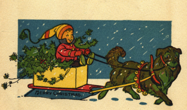 """Merry Christmas!"" Illustration by W.W. Denslow, published in Denslow's Night Before Christmas by Clement C. Moore (1902), M.A. Donohue and Co."