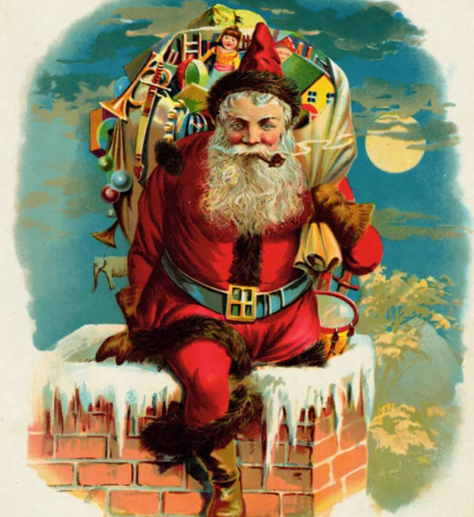 """Up on the housetop."" llustration by unknown artist, published in Twas the Night Before Christmas by Clement C. Moore 1896), McLoughlin Bros."