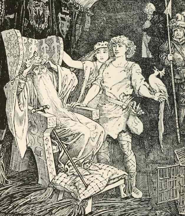 """The horse-shoer was led into the king's chamber."" Illustration by H.J. Ford, published in The Pink Fairy Book by Andrew Lang (1897), Longmans, Green and Company."