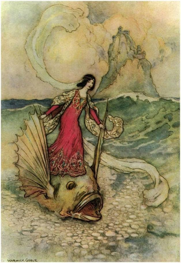 """Rita riding on the dolphin."" Illustration by Warwick Goble, published in Stories from the Pentamerone (1911), Macmillan and Company."