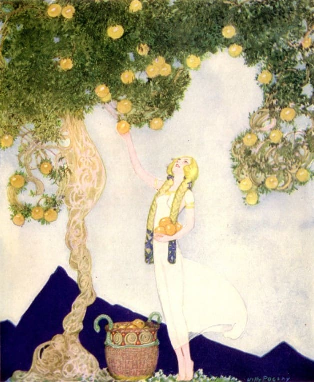 Image of Iduna tending the apples in the garden of Asgard by Willy Pogany for Nordic fairy tale collection Children of Odin