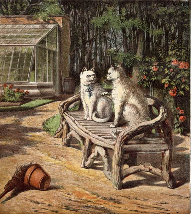 Two cats sit on a bench for the Italian fairy tale The Colony of Cats.