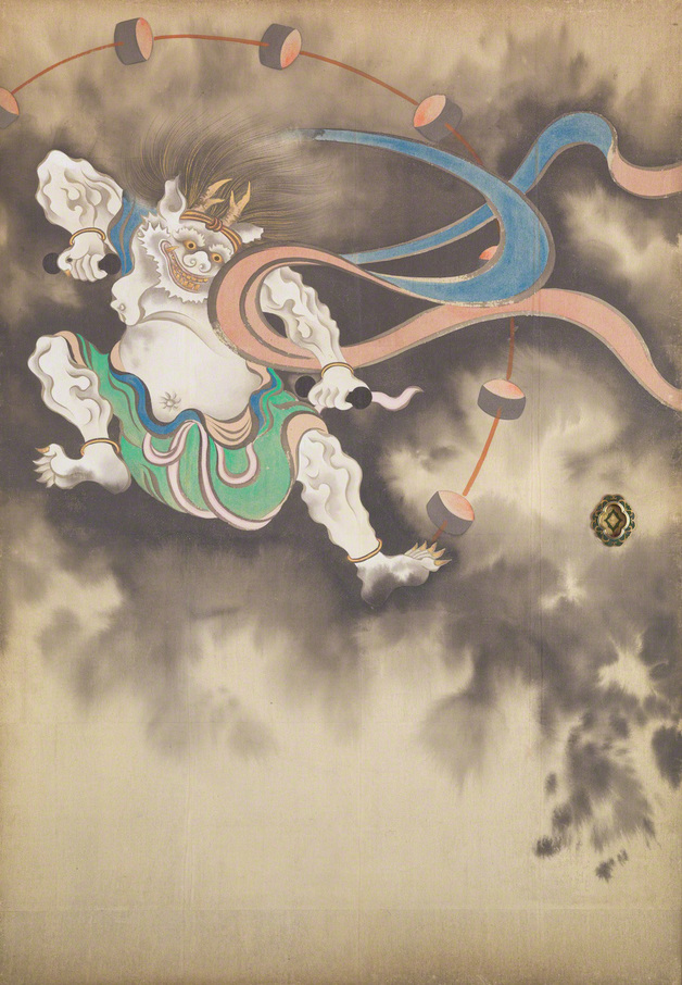 Wind God and Thunder God (left screen, detail), painting by  Suzuki Kiitsu (1796-1858)