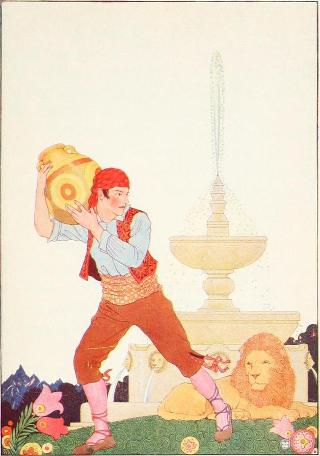 """He waited until the lion's eyes were open."" Illustration by Maud and Miska Petersham, published in Tales of Enchantment from Spain by Elsie Spicer Eells (1920), Harcourt, Brace and Company."