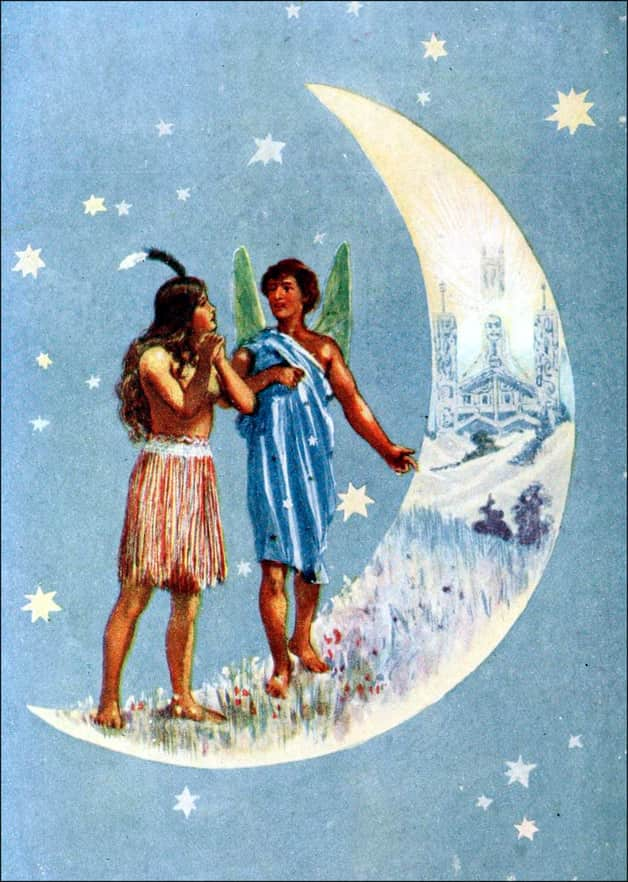 """Marama shows Ina the Moon-Land."" Unknown illustrator, published in Maoriland Fairy Tales by Edith Howes (1913), Ward, Lock and Co."