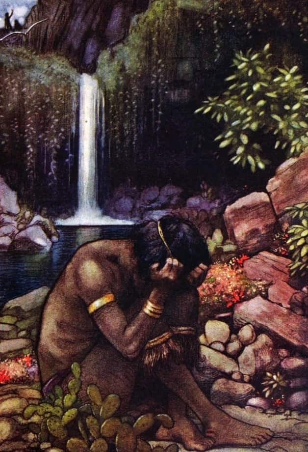 """SItting with his head buried in his hands."" Illustration by Helen Jacobs, published in Native Fair y Tales of South Africa by Ethel McPherson (1919), George G. Harap and Co."