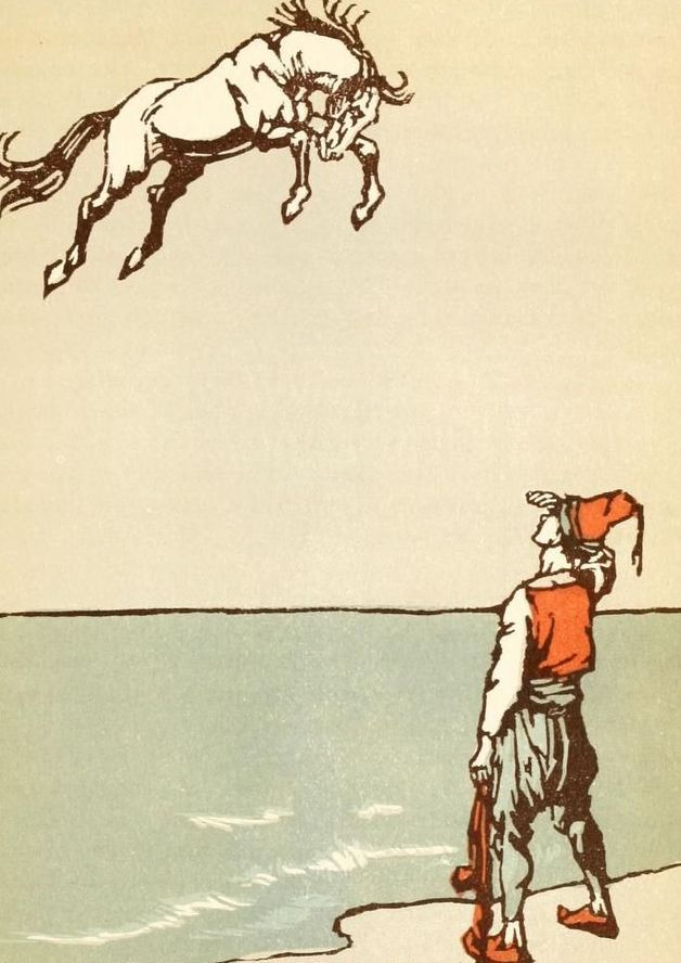 """The golden-hued steed came flying through the air."" Illustration by Willy Pogany, published in Forty-four Turkish Fairy Tales by Dr. Ignácz Kenos (193), George C. Harrap and Co."