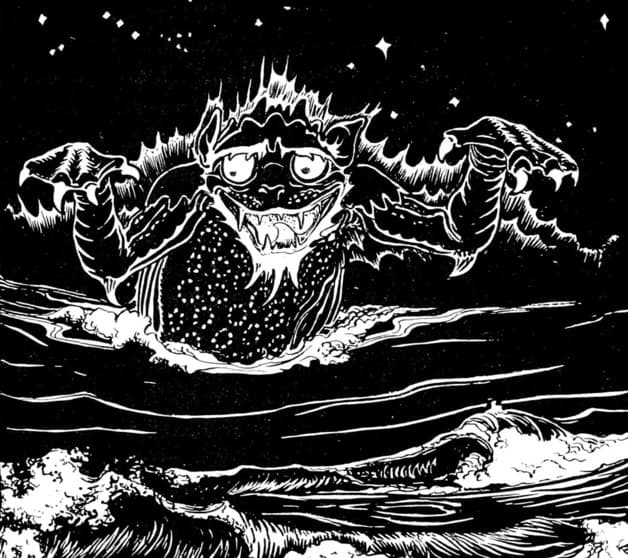 """At last he saw the sea coming in kilns of fire and as a darting serpent, till it came down below where he was. A Huge Monster came up and looked towards him, and from him. "" Illustration by John Batten, published in More Celtic Fairy Tales by Joseph Jacobs (1895), G.P. Putnam's Sons"