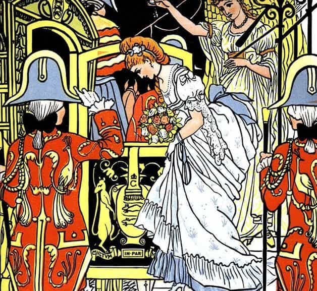 """She changed them to six prancing steeds, all marching side by side."" Illustration by Walter Crane, published in Walter Crane's Cinderella (1875), George Routledge and Sons."