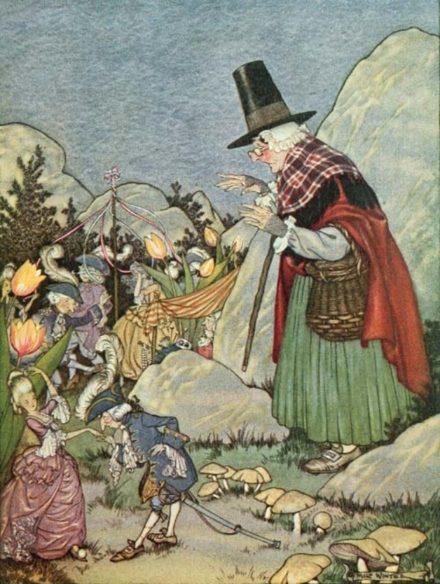 """And there before her she saw a whole troop of Spriggans holding an Elfin Fair."" Illustration by Milo Winter, published in The Book of Elves and Fairies for Story-Telling and Reading Aloud and for the Children's Own Reading, by Frances Jenkins Olcott (1918), Houghton, Mifflin and Company."