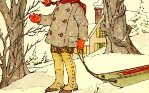 """The snowflakes are falling by ones and by twos."" Illustration by Blanche Fisher Wright, published in The Peter Patter Book: Rimes for Children by Leroy F. Johnson (1918), Rand McNally and Co."