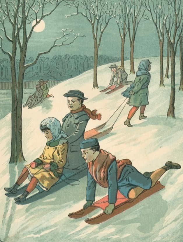 """Down they go, swift and slow."" Illustration by Charles Kendrick, published in Around the House: Rhymes for Children by Edward Willett (1882), R. Worthington."