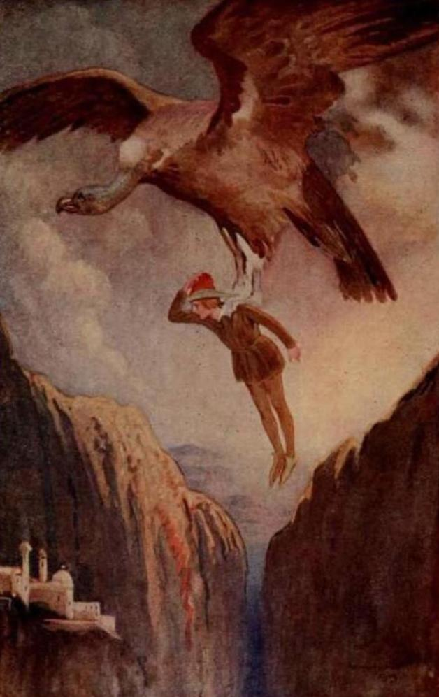 """The vulture carried him to the other side of the abyss."" Illustration by W. Matthews, published in Fairy Tales form Spain by Jose Munez Escomez (1913), J.M. Dent and Sons."